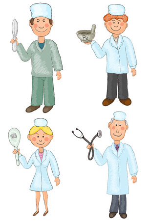Set of four hand drawn characters of medical occupations Vector