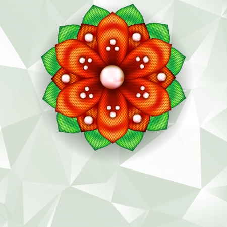 kanzashi: Abstract geometric background with bright detailed kanzashi flower Illustration