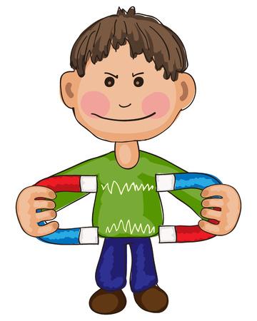 Hand getrokken afbeelding van de jongen experimenteren met twee magneten
