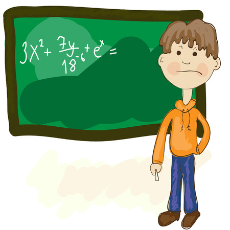 explain: Confused student trying to solve hard task near blackboard