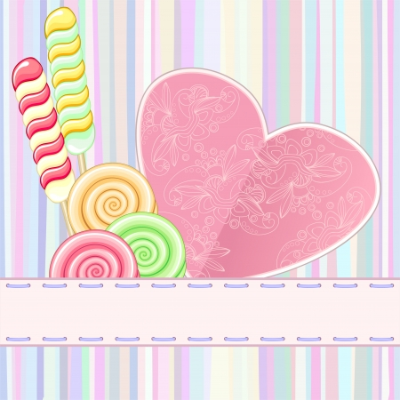 Striped retro greeting card with ornate heart and lollipops Vector