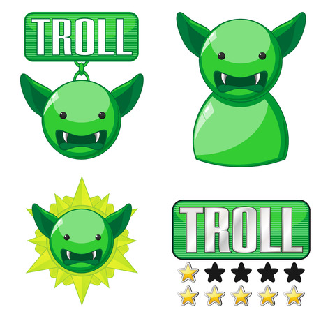 wicked set: Set of badges and icons for internet trolls