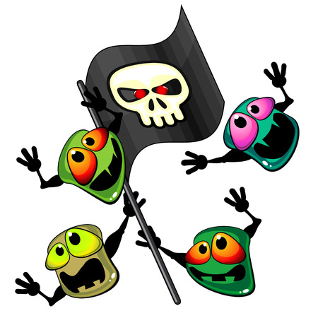 Aggressive bacteria with black banner with stylized skull Vector
