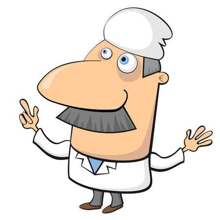 general warning: Cartoon aged male doctor isolated over white Illustration