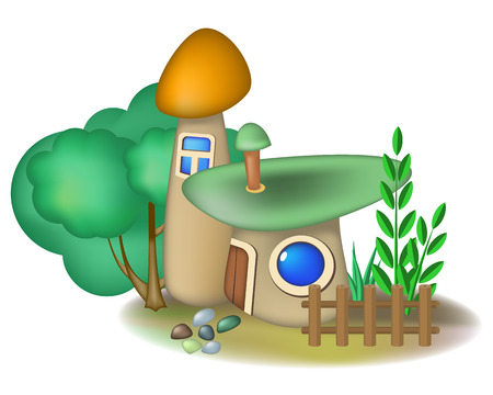cottage garden: Two fairy mushroom houses and bush with small fence Illustration