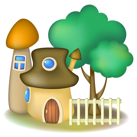 Two fairy mushroom houses and tree with light fence Vector