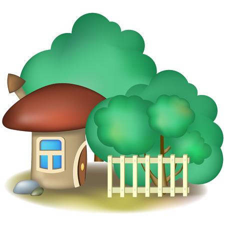 Mushroom fairy house with chimney and trees Vector