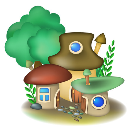 Group of three fairy mushroom houses and tree Vector