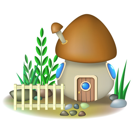 Fairy mushroom house in yard with light fence Vector