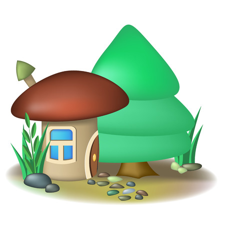 Fairy mushroom house with chimney and fir tree Vector