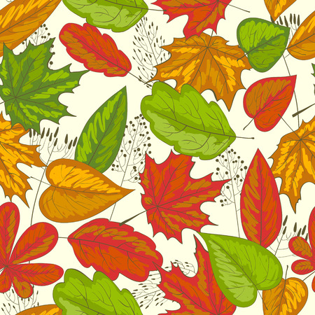 Seamless autumn texture made of grasses and bright leaves Vector