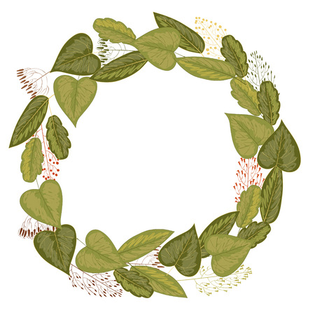 grasses: Retro floral round wreath made of green leaves and grasses Illustration