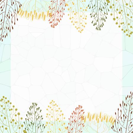 quadratic: Marco cuadr�tica con coloridos siluetas de hierba