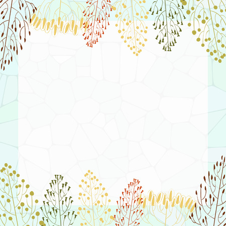 quadratic: Quadratic frame with colorful silhouettes of grass Illustration