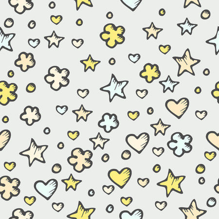 Seamless abstract texture with doodle stars and hearts Vector