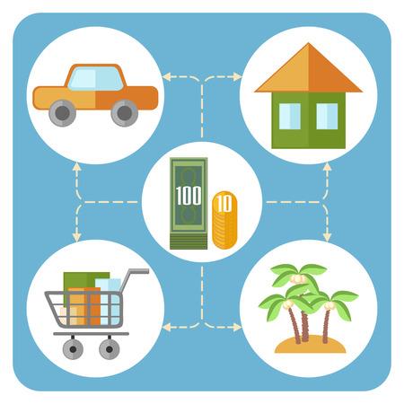gastos: Diagrama Dise�o plano mostrando principales gastos del hogar Vectores