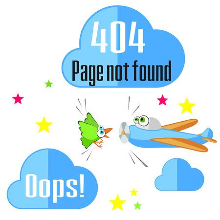 not found: Concepto del mensaje de error que no se encuentra con el aeroplano y el p�jaro