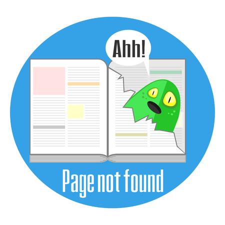 not found: Concepto del mensaje de error que no se encuentra con el libro y p�gina rasgada Vectores