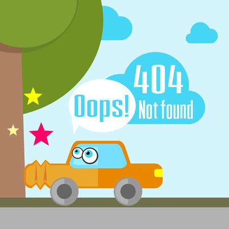 not found: Concepto del mensaje de error que no se encuentra con el coche aplastado Vectores