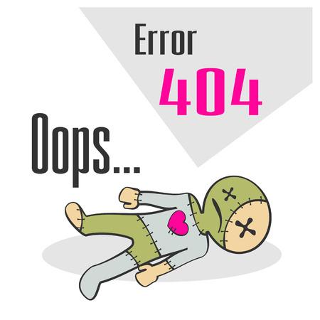 not found: Concepto del mensaje de error que no se encuentra con el mu�eco de vud� de la historieta