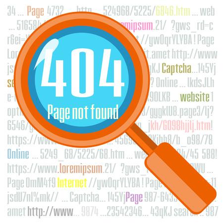 not found: Concepto del mensaje de error que no se encuentra con el texto y la lente Vectores