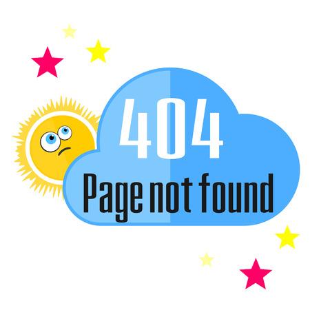 not found: Concepto del mensaje de error que no se encuentra con el sol y la nube