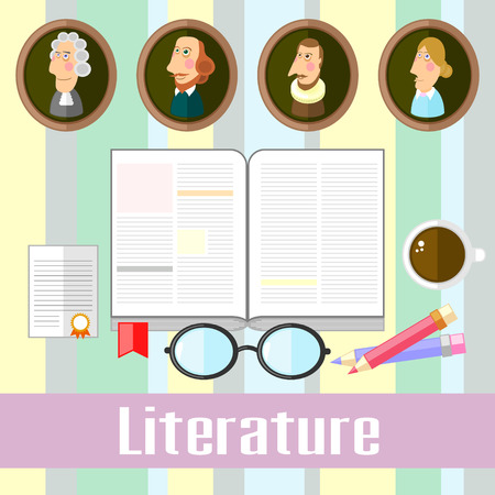 poet: Set of educational icons for studying literature Illustration