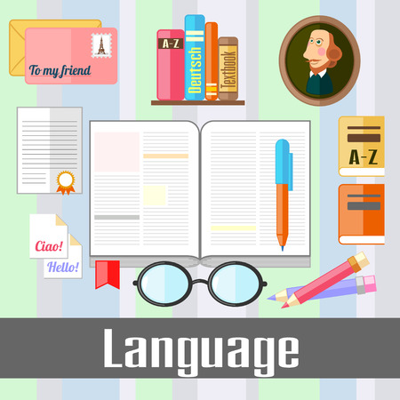 poet: Set of educational icons for studying language Illustration