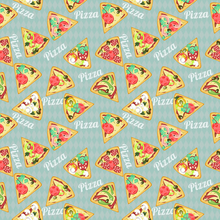 Retro seamless pattern with detailed slices of pizza