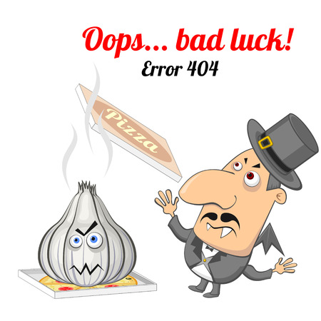page not found: Concept of not found error message with vampire and garlic Illustration