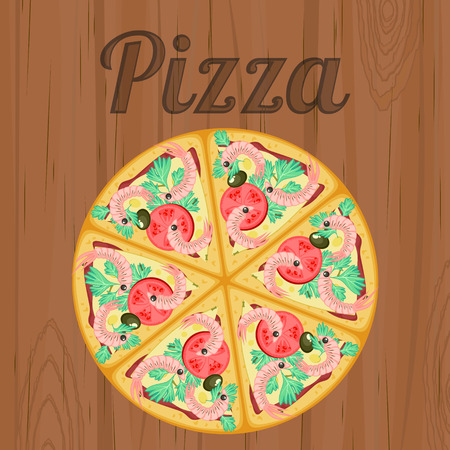 Vintage poster with detailed pizza with shrimps over wood Vector