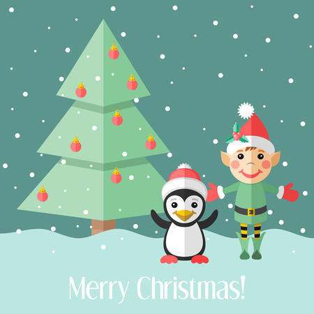 Blue holiday Christmas card with elf and penguin and fir tree Vector