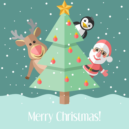 Blue holiday Christmas card with fir tree and Santa Claus and reindeer and penguin Vector