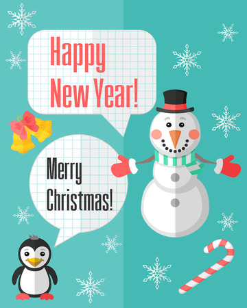 Holiday Christmas card with snowman and penguin and paper cut speech bubbles Vector