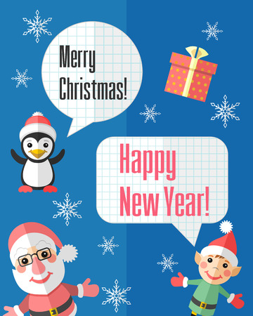 Holiday Christmas card with Santa Claus and elf and paper cut speech bubbles Vector