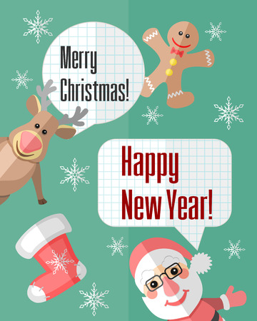 Holiday Christmas card with Santa Claus and reindeer and paper cut speech bubbles Vector