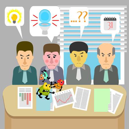 소요: 소화 기관에 문제가있는 비즈니스 회의와 한 남자