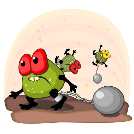 cannonball: Big ugly germ blocked with cannonball on leg as concept of antibacterial action Illustration