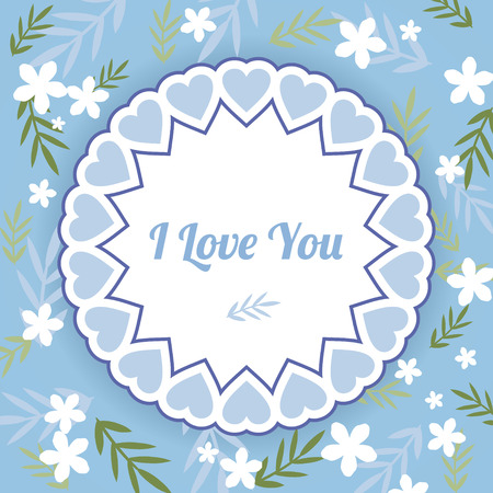delicate: Delicate blue simple greeting card with white flowers and leaves