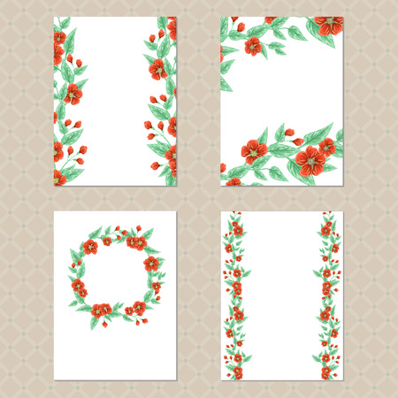 a4 borders: Set di quattro carte di rettangolo con ornamenti floreali