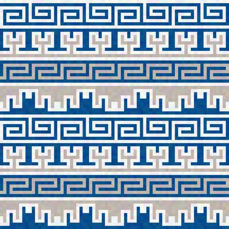 ancient geometric: Horizontal abstract geometric seamless ancient Greek texture Illustration