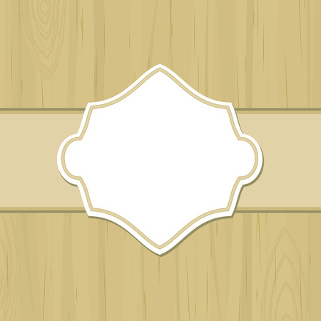 dull: Dull yellow wooden background with blank retro label