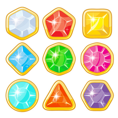 rim: Collection of various gems with golden rim for game design Illustration