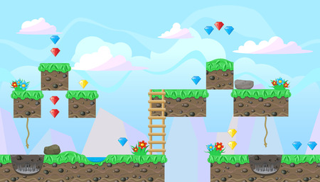 Seamless editable horizontal background with gems and flowers for platform game