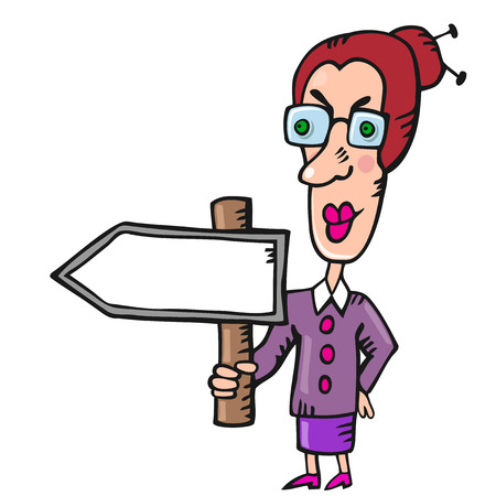 middle age woman: Funny woman teacher with blank pointer in hand