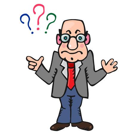 caricaturas de personas: Profesor Hombre divertido con tres signos de preguntas anteriores Vectores