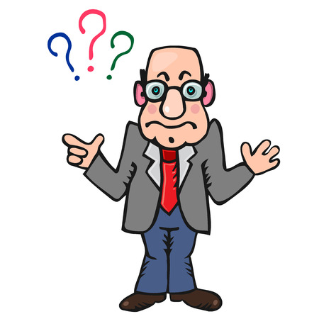 Funny man teacher with three signs of questions above