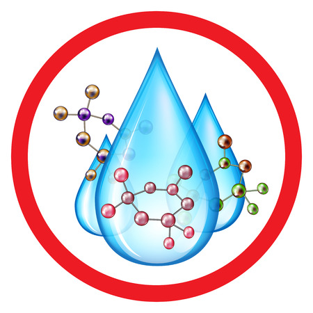 chemical hazards: Group of water drops with molecules of pollutant Illustration