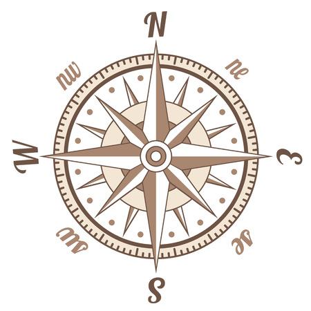 bussola: Semplice icona in stile retrò bussola su bianco
