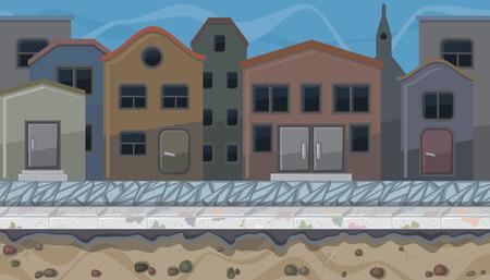 sidewalk: Seamless horizontal background of evening city street for game Illustration
